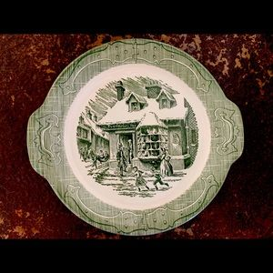Vintage green toile platter The Curiosity Shop